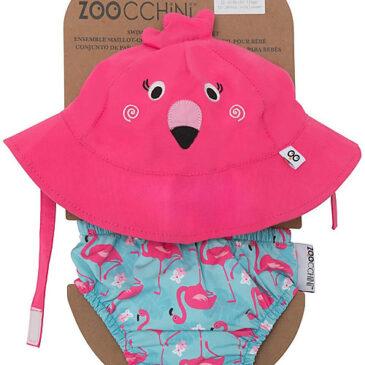 Zoocchini Set Baby Costumino Contenitivo + Cappellino, Fenicottero - UPF 50+ Taglia M