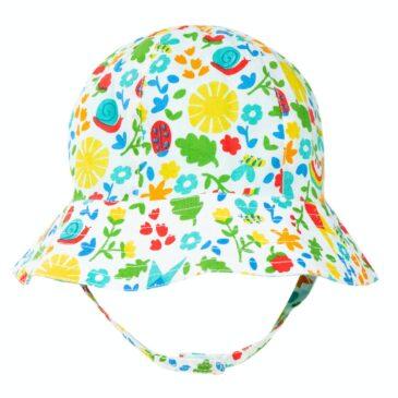 Cappello 0-6 mesi reversibile fiorato
