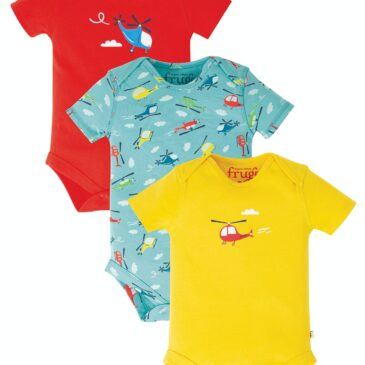 Body set 3 pz helicopter 6-12 mesi - Frugi