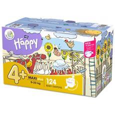 Pannolini taglia 4+ pacco doppio 124 pz - Happy