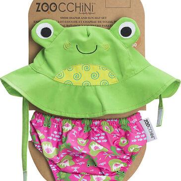 Zoocchini Set Baby Costumino Contenitivo + Cappellino, Rana - UPF 50+ Taglia M