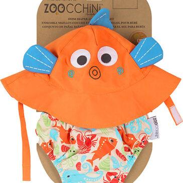 Zoocchini Set Baby Costumino Contenitivo + Cappellino, Pesciolino - UPF 50+ Taglia L