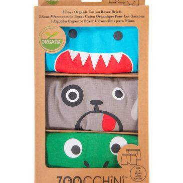 Zoocchini 3 Boxer in cotone organico Boys 4/5 anni