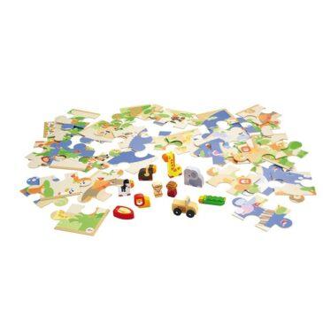 Puzzle safari con miniature in legno - Sevi