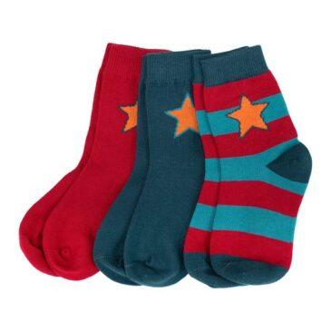 kit 3 calzini rosso-azzurro taglia 28-30 - Villervalla