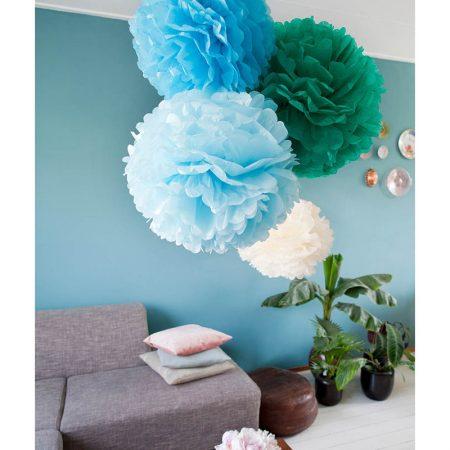 Paper poms decorativi verde e azzurro - Engel