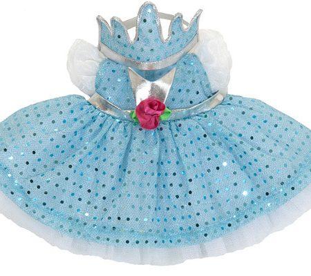 Vestitino principessa azzurro con coroncina per bambole kids - Rubensbarn
