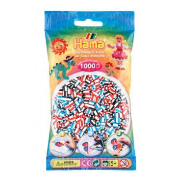 1000 Perline mix rosso-azzurro-nero - Hama