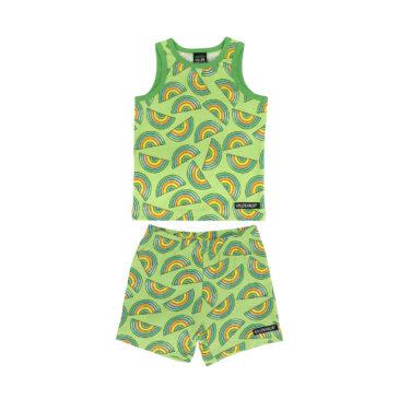 Completo canottiera e pantaloncin arcobaleno verde 134/140 cm. - Villervalla