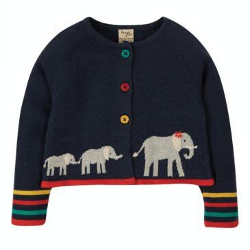Cardigan elefanti blu 2/3 anni mesi - Frugi