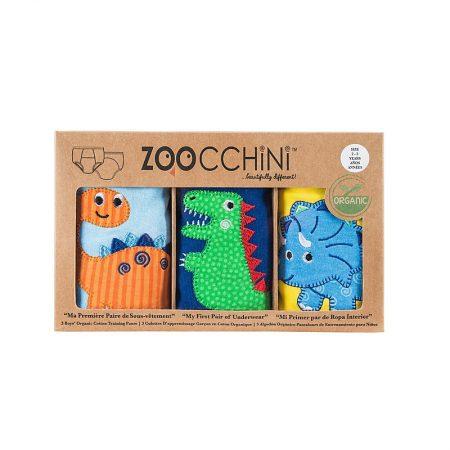 3 Mutandine Trainer in cotone organico -Dinosauri- 3/4 anni - Zoocchini