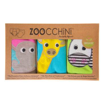 3 Mutandine Trainer in cotone organico girl safari 3/4 anni - Zoocchini