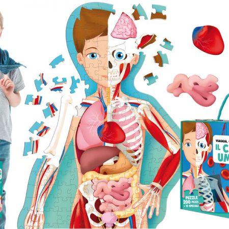Il corpo umano libro e puzzle 130 cm. - Sassi