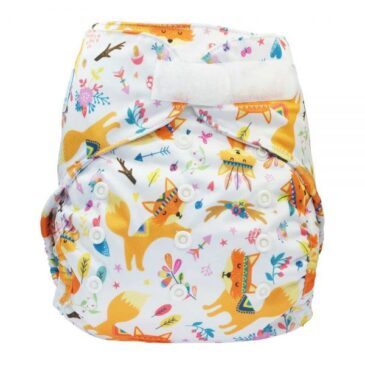Cover 2in1 One Size con bottoncini Foxes - Blümchen Stoffwindeln