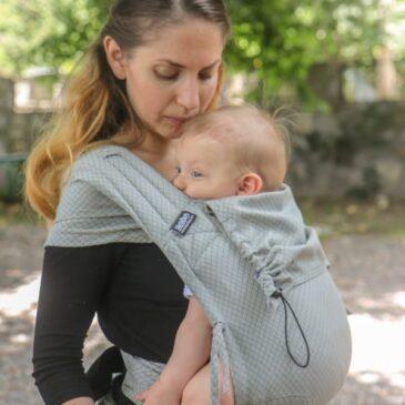 Neko Half Buckle Grey Diamond Baby Size - Marsupio Ibrido Ergonomico Regolabile