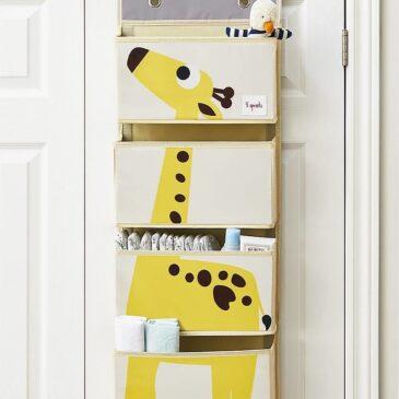 Organizer da muro con ganci e 4 tasche - Giraffa - 3 Sprouts