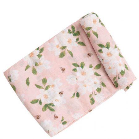 Mussola 120x120 fiori rosa e api - Angel dear